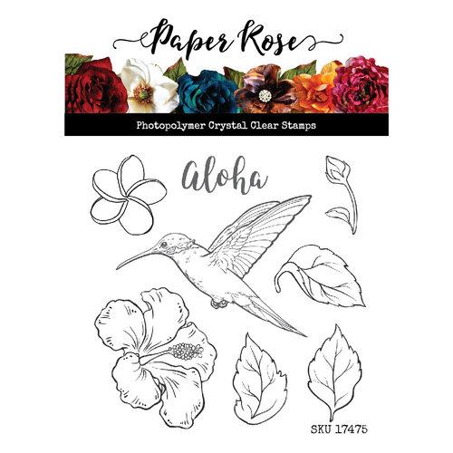 Paer Rose Hummingbird Garden Stamp