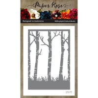 Paper Rose - Dies - Birch Tree Background