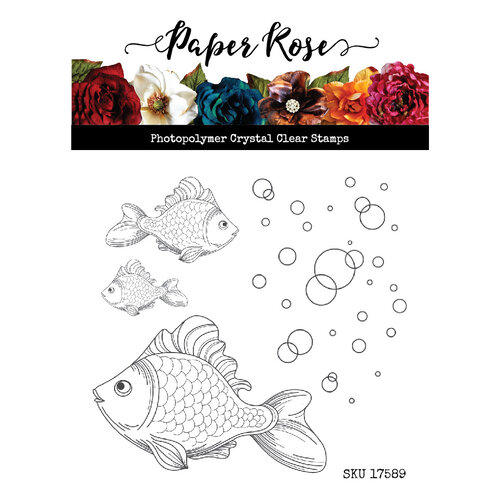 Paper Rose Fish and Bubbles