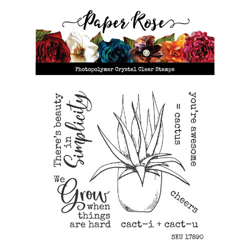 Paper Rose Cactus Quotes stamp