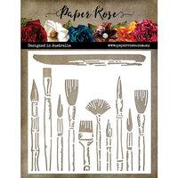 Paper Rose - 6 x 6 Stencil - Brush Strokes