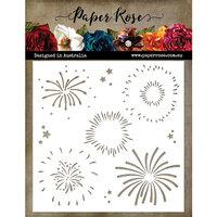 Paper Rose - 6 x 6 Stencil - Fireworks