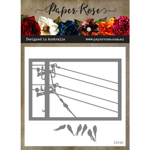 Paper Rose - Dies - Birds on Powerline Rectangle Frame