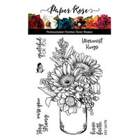 Paper Rose - Clear Photopolymer Stamps - Sketchy Handpicked Bouquet