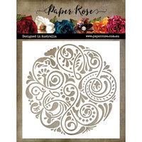 Paper Rose - 6 x 6 Stencil - Flourish Circle 1