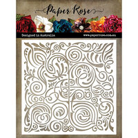 Paper Rose - 6 x 6 Stencil - Flourish Square