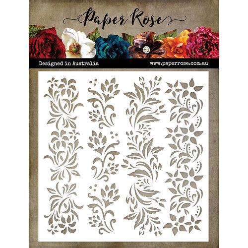 Paper Rose - 6 x 6 Stencil - Floral Borders