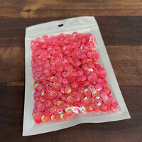 Paper Rose - Sequins - Clear Iridescent - Solid Bright Coral