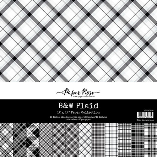 Paper Rose - 12 x 12 Collection Pack - Black and White Plaid