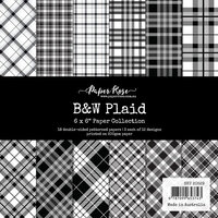 Paper Rose - 6 x 6 Collection Pack - Black and White Plaid