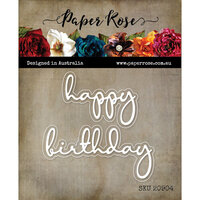 Paper Rose - Dies - Happy Birthday Fine Script