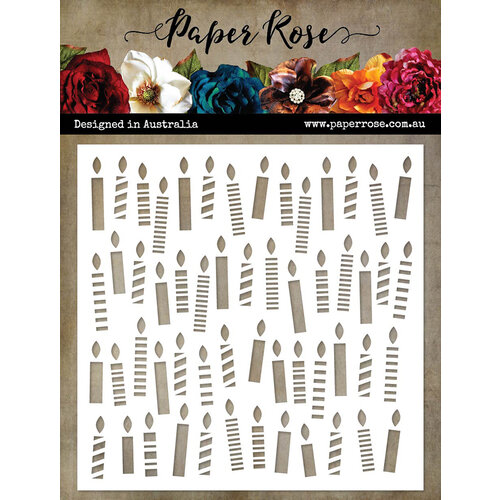 Paper Rose - 6 x 6 Stencil - Scattered Candles