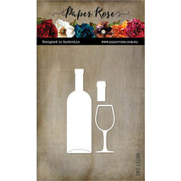 Paper Rose - Dies - Wine Bottle And Glass