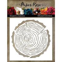 Paper Rose - 6 x 6 Stencils - Wood Slice