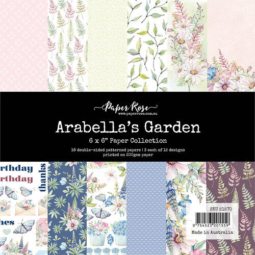 Paper Rose - 6 x 6 Double Sided Paper Collection - Arabella's Garden
