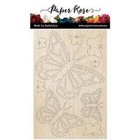 Paper Rose - Wood - Butterflies