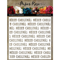 Paper Rose - 6 x 6 Stencils - Wonky Merry Christmas Text