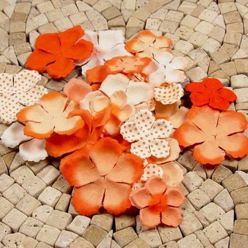 Prima - E Line - Flower Embellishments - Orange Mix 1
