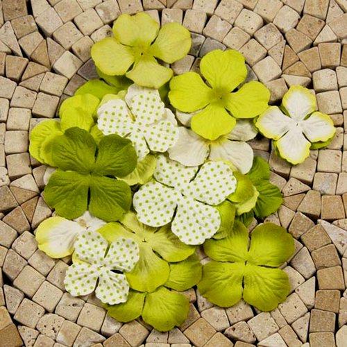 Prima - E Line - Flower Embellishments - Green Mix 3