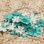 Prima - E Line - Flower Embellishments - Aqua Mix 5, CLEARANCE