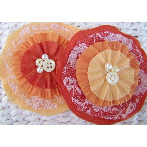 Prima - Bonnet Blooms Collection - Flowers - Orange, CLEARANCE
