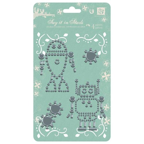 Prima - Say It In Studs Collection - Self Adhesive Jewel Art - Bling - Robot 2 - Silver, CLEARANCE