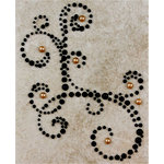 Prima - Say It In Pearls Collection - Self Adhesive Jewel Art - Bling - Corner - Black