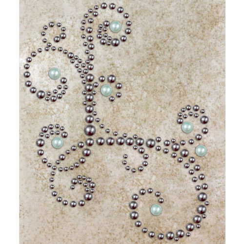 Prima - Say It In Pearls Collection - Self Adhesive Jewel Art - Bling - Corner - Gray, BRAND NEW