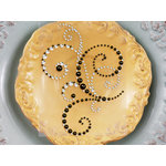 Prima - Say It In Pearls and Crystals Collection - Self Adhesive Jewel Art - Bling - Flourish - Mixed Crystal Bronze, BRAND NEW