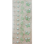 Prima - Say It In Pearls Collection - Self Adhesive Jewel Art - Bling - Border Strips - Green, BRAND NEW