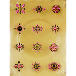 Prima - Say It In Pearls Collection - Self Adhesive Jewel Art - Bling - Flower Centers - Brown and Pink, BRAND NEW