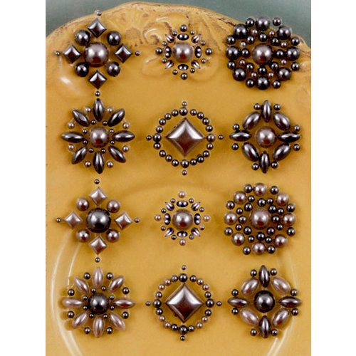 Prima - Say It In Pearls Collection - Self Adhesive Jewel Art - Bling - Flower Centers - Brown 2