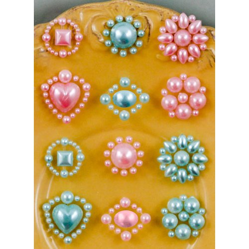Prima - Say It In Pearls Collection - Self Adhesive Jewel Art - Bling - Flower Centers - Pink and Blue, BRAND NEW