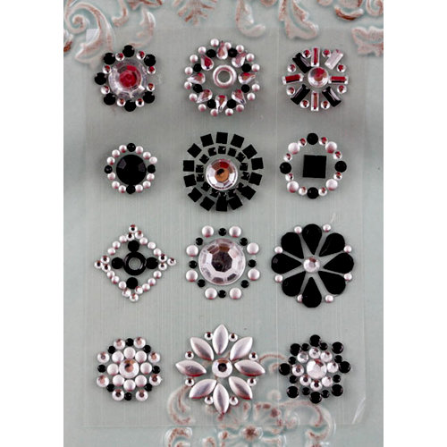 Prima - Say It In Studs Collection - Self Adhesive Jewel Art - Bling - Flower Centers - Black, BRAND NEW