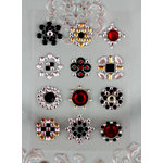 Prima - Say It In Studs Collection - Self Adhesive Jewel Art - Bling - Flower Centers - Red and Black, BRAND NEW