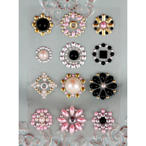 Prima - Say It In Studs Collection - Self Adhesive Jewel Art - Bling - Flower Centers - Black Pink and Pearl, BRAND NEW