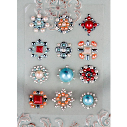 Prima - Say It In Studs Collection - Self Adhesive Jewel Art - Bling - Flower Centers - Orange and Blue