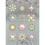Prima - Say It In Studs Collection - Self Adhesive Jewel Art - Bling - Flower Centers - Orange Green and Yellow, BRAND NEW