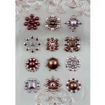 Prima - Say It In Studs Collection - Self Adhesive Jewel Art - Bling - Flower Centers - Gray and Brown, CLEARANCE