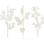 Prima - DeVines Collection - Self Adhesive - Die Cut Felt Art - Stems - Cream, BRAND NEW