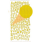 Prima - Textured Alphabet Stickers - Self Adhesive Clear Jewels and Pearls - Yellow, BRAND NEW
