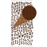 Prima - Textured Alphabet Stickers - Self Adhesive Clear Jewels and Pearls - Brown, BRAND NEW