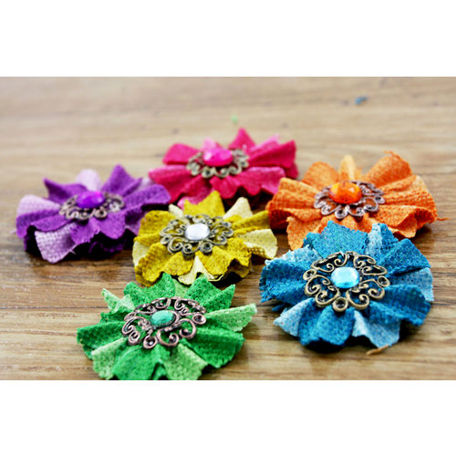 Prima - Homespun Elegance Collection - Flower Embellishments - Brights, BRAND NEW