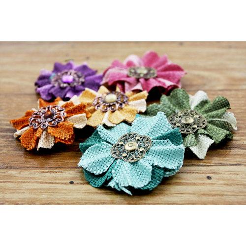 Prima - Homespun Elegance Collection - Flower Embellishments - Vintage, CLEARANCE