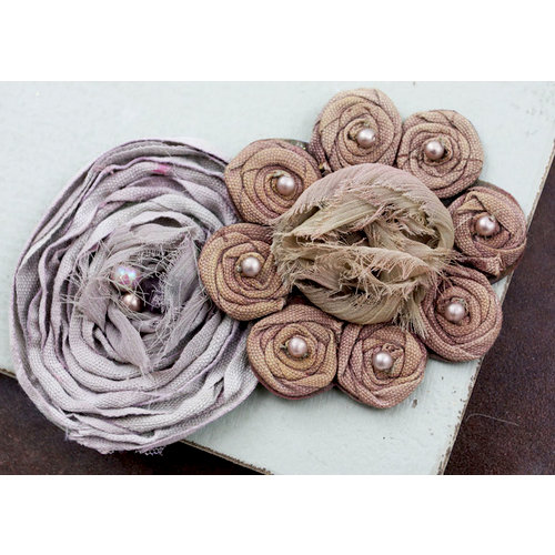 Prima - Romani Rose Collection - Flower Embellishments - Mushroom, BRAND NEW