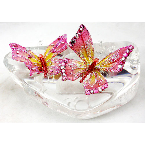 Prima - Jewel Box Collection - Jeweled Butterflies - Pink Topaz