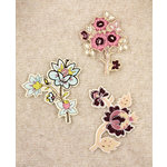 Prima - Art Stitched Charms Collection - Mulberry Embellishments - Flowers, CLEARANCE