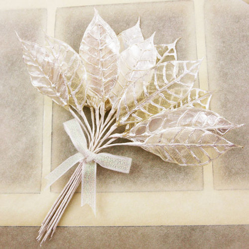 Prima - Holiday Lights Collection - Lustered Leaf Sprays - White