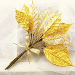 Prima - Holiday Lights Collection - Lustered Leaf Sprays - Gold, CLEARANCE