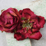 Prima - Baroque Blooms Collection - Flower Embellishments - Maroon